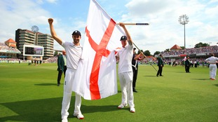 Durham's Mark Wood and Ben Stokes celebrate after winning the Ashes.