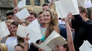 Students celebrate their A-Level results in Brighton College in 2014.