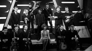 Rehearsals in Birmingham for ABC's 'Thank Your Lucky Stars' programme with Brian Matthew, Cilla Black (centre), The Beatles (back), Billy J. Kramer and the Dakotas, Gerry and the Pacemakers and The Searchers.