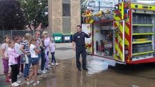 Children from Belarus visit Dogsthorpe Fire Station