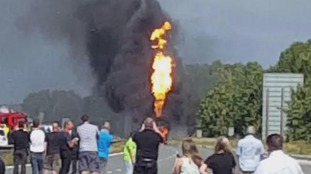 An image of the tanker on fire