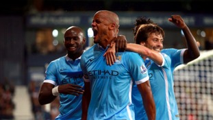 Captain Vincent Kompany scored for Manchester City with a stunning header