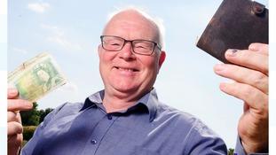 Derek Gamble with his wallet