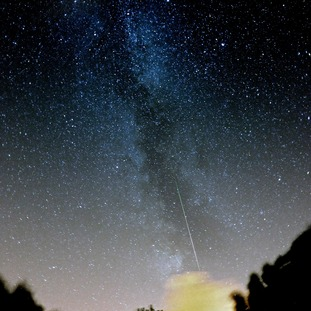 A Perseid meteor captured in August 2013 against our Milky Way galaxy