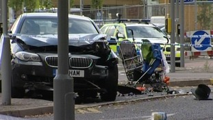 Scene of the crash at the junction of Narborough Road and Braunstone Gate in Leicester