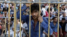 MSF said 2,000 migrants were queuing at the national stadium in Kos this morning