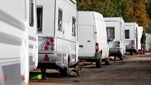 Caravans parked on the approach to Dale Farm