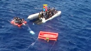 The migrants were rescued from a deflating rubber boat