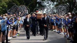 Cyclists honour alleged road rage victim at funeral