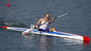 Tim Brabants competes in the men's kayak single K1 1000m final in Beijing, where he won gold.