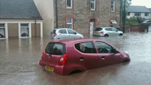 Cars stranded in floods in Galston in East Ayrshire