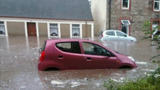 Images show the height of the flooding