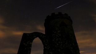 A meteor shoots over Bradgate Park in Newtown Linford, Leicestershire