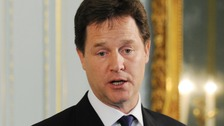 Nick Clegg making the announcement at a news conference in London