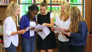 Amelia Dickinson, 18, Davina Nylander, 18, Tizzy Lawson, 18, Rose Bell, 18, and Genevieve Perrins, 18, pick up their A-level results at Newcastle High School.
