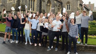 Students celebrate their A-level results at Brighton College in Sussex
