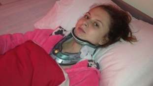 Toni Moody-Miller in a neck collar shortly after the attack