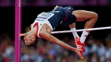 Great Britain's Robbie Grabarz in the Men's High Jump on day nine of the Olympic Games at the Olympic Stadium,
