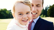 Prince George pictured with his father the Duke of Cambridge