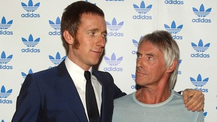 Olympic gold medal winner Bradley Wiggins meets his hero Paul Weller at the Adidas Underground event in east London