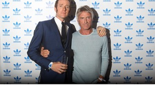 Cyclist Bradley Wiggins with the singer Paul Weller