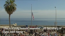 The US flag is raised outside the American embassy in Havana.