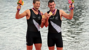 New Zealand's Joseph Sullivan (right) and Nathan Cullen celebrate winning gold in the Men's Double Sculls