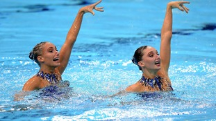 Great Britain's Olivia Federici and Jenna Randall in action