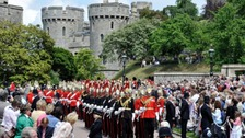 the procession before the annual Order of the Garter Service at St George's Chapel, Windsor Castle