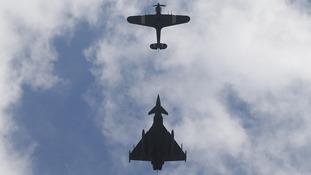 Hurricane jet followed by a Typhoon FGR4