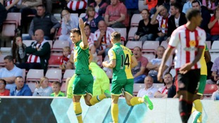 Alex Neil celebrates first Premier League win with Norwich City