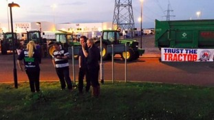 Farmers blocked the Tesco distribution centre at Avonmouth on Sunday night.