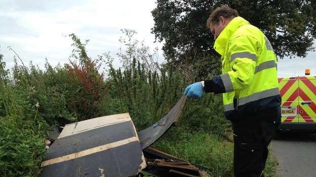 Community Officer at Medway Council Simon Harwood called out to fly tipping in Chatham