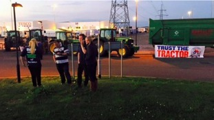 Farmers win Tesco meeting as dozens blockade its distribution centre