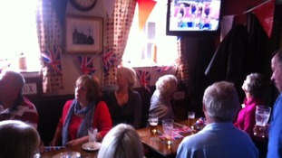 Locals have gathered at the Brownlees local pub to watch the brothers in the Olympic triathlon.