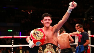Jamie McDonnell celebrates defeating Javier Chacon during the WBA World Bantamweight Title fight in 2014