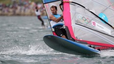 Nick Dempsey wind surfing in Weymouth