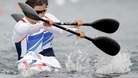 Great Britain's Abigail Edmonds and Louisa Sawyers paddle in a women's kayak double 500m heat