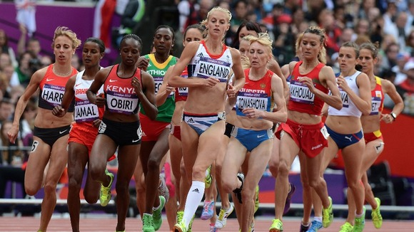 Hannah England competes in the women&#x27;s 1500 meters heats
