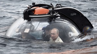 Russian President Vladimir Putin was submerged in a research submarine.
