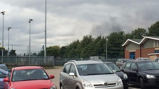 Smoke drifting over the Kingsthorpe area of Northampton this afternoon