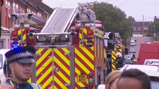 Fire crews at the scene of a car workshop fire in Northampton