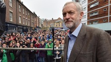 Labour leadership candidate Jeremy Corbyn speaks outside the Tyne Theatre and Opera House.