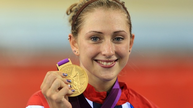 Laura Trott with her gold medal.