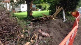Debris from the crash