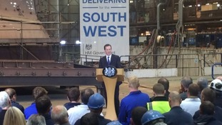 George Osborne speaking at Appledore Shipyard in May.