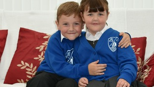 Aidan McGeoch, starting P3 and Niamh Mcgeoch starting  P1 at St Andrew's Primary School in Dumfries
