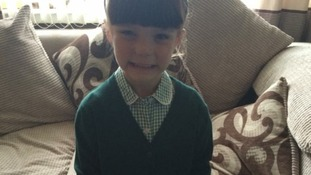 Lexi McClone on her first day in P1 at Laurieknowe Primary, proud moment for Mum and Dad
