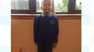 Hayden Bogie, aged 6 and starting P2 at Calside Primary School. Mummy and daddy hope he's had a fantastic day at school.