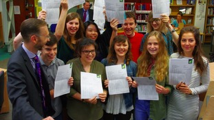 Pupils celebrate their results